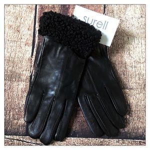 Surell Faux Fur Trimmed Black Leather Gloves